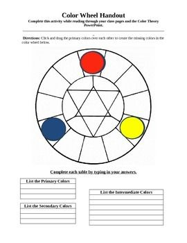 Students move the color shapes to mix the secondary and intermediate colors on the color wheel. Then students move the color shapes to answer the color theory questions on the second page. There are multiple correct answers on the second page. Teachers can also use this handout as an interactive lecture!