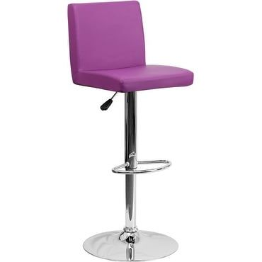 iHome Estella Purple Vinyl Adj. Bar/Counter Height Stool w/Chrome Base for Home/Dining/Kitchen
