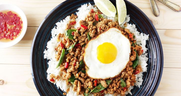 Thai Holy Basil Pork Recipe Main Dishes with ground pork, sweet basil, red chili peppers, garlic cloves, shallots, fish sauce, oyster sauce, light soy sauce, caramels, sugar
