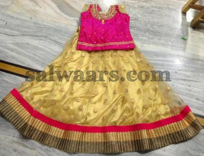 Gold Netted Kids Skirt with Pink Blouse | Indian Dresses