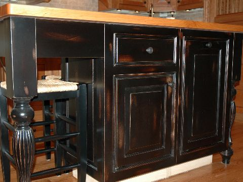 black distressed cabinets