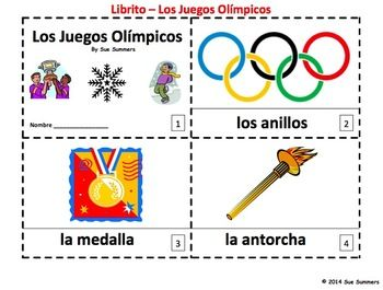 Spanish Winter Olympics - Juegos Olimpicos 2 Emergent Readers by Sue Summers - 1 with text and images, 1 with text only so students can sketch and create their own versions of the booklets.