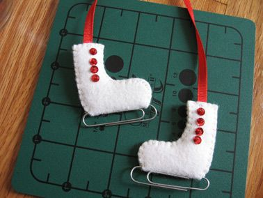 paperclip iceskate ornaments