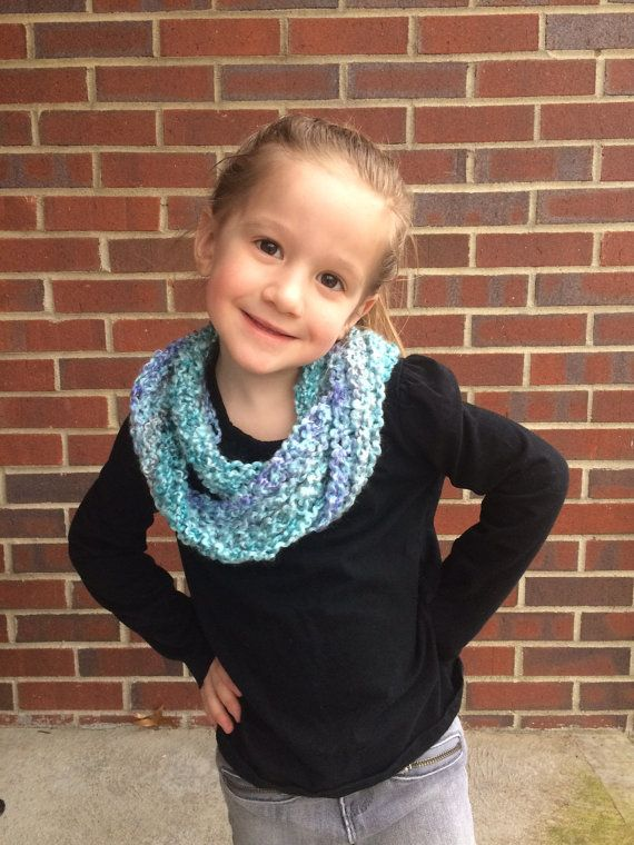 Child Infinity scarf,  Kid's Blue Infinity scarf,  Crochet Infinity Scarf, Soft Acrylic Yarn, keep your little girl fashionable and warm!