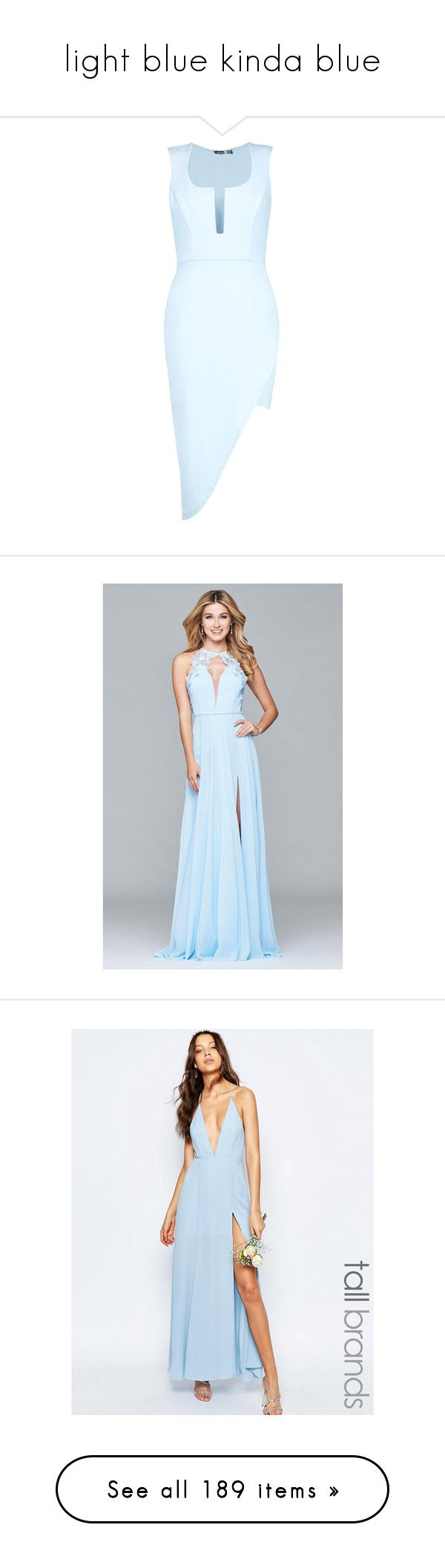 """light blue kinda blue"" by aliceridler ❤ liked on Polyvore featuring dresses, bodycon mini dress, blue maxi dress, maxi dresses, bodycon dress, wrap maxi dress, gowns, cloud blue, formal dresses and lace prom dresses"