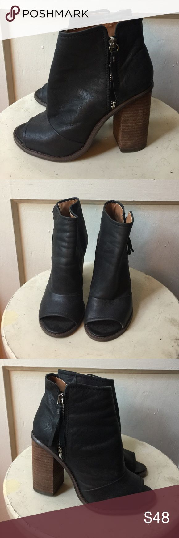 KDB Kelsi Dagger Peep Toe Wood Heel Zip Up Booties Worn a couple times. Excellent Condition. 4 inch heel. True to size. Kelsi Dagger Shoes Ankle Boots & Booties