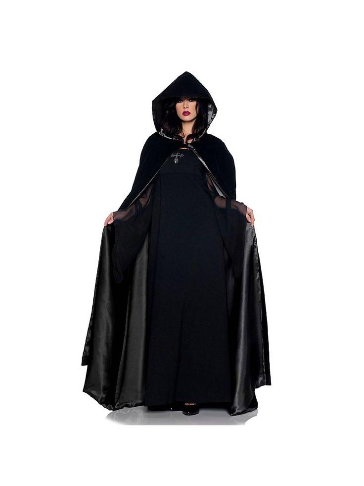 63 deluxe black velvet satin cape womens halloween costumes - Halloween Costumes With A Cape