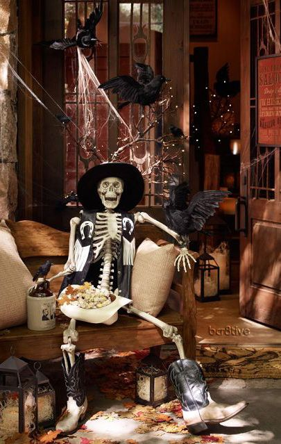 mr bones life sized skeleton pottery barn halloween decor - Spooky Halloween Decorations