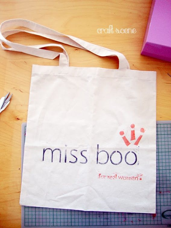 Tote bag with a hand-made stamp