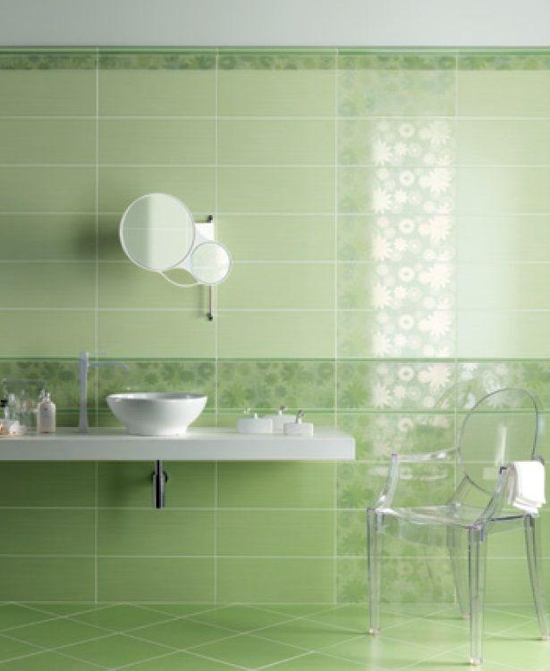Semplice e chic arredobagno colori verde rivestimento - Bagno bianco e verde ...