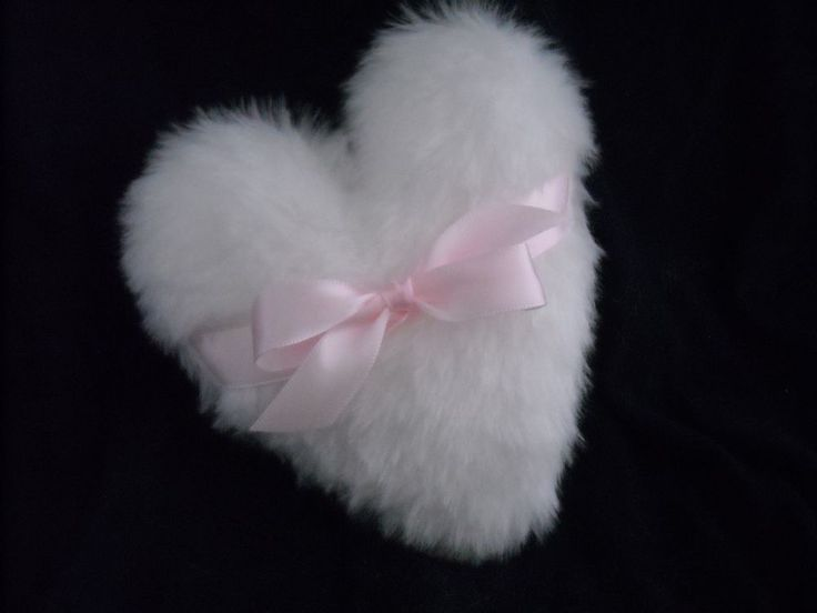 """Luxurious.  Heart Shaped Body powder puff, 5 inch body powder puff with bow  """"This lady also sells different size round ones too""""."""
