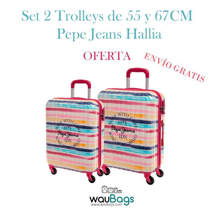 Set de viaje compuesto por 2 originales y prácticas Maletas Trolley (una de ellas apta para cabina) Pepe Jeans Hallia. @waubags #pepejeans #pepe #maletas #trolleys #viaje #setdeviaje #cabina #oferta #descuento #waubags