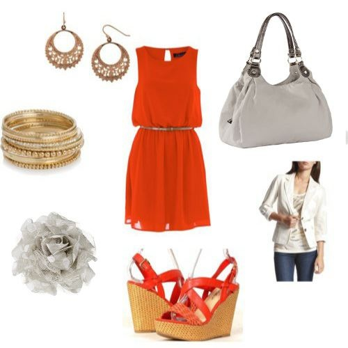Little Orange Dress and Wedges with Fashion earrings, bracelet. How about lil Rosette and 5th Ave bag from thirty-one, too?!  with purchase of $31 in April get this bag for just $62.50 www.mythirtyone.com/dianecaudill