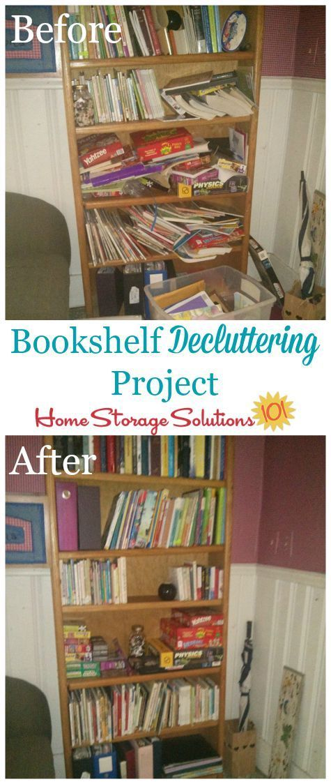Before And After Of Bookshelf Decluttering Project Plus 5 Questions To Ask Yourself When Removing