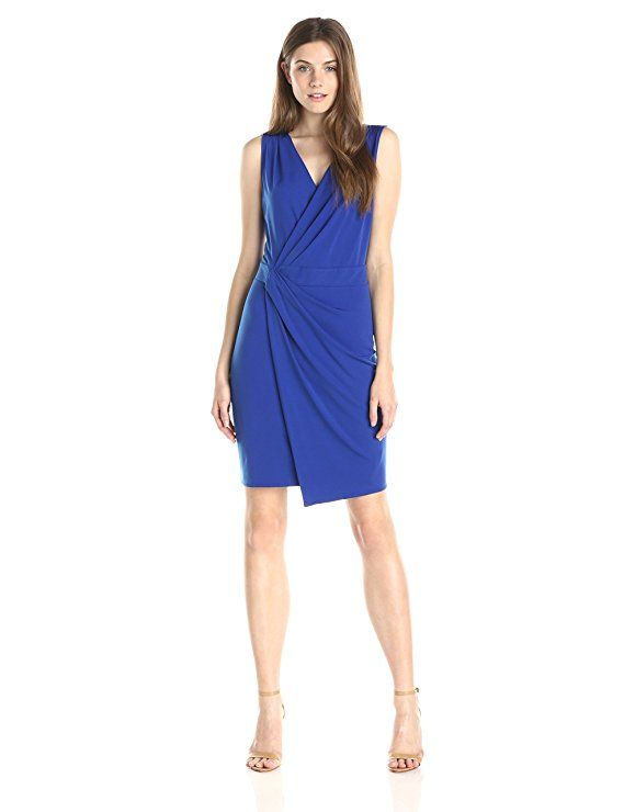 83a4871bdb Lark   Ro Women s Sleeveless Faux-Wrap Sheath Dress