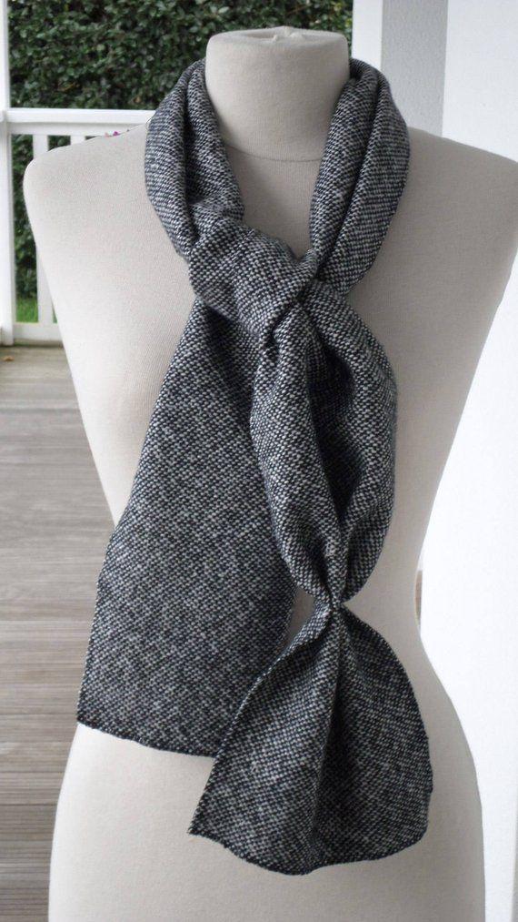 77beb30277c5 écharpe foulard snood gris et noir pour femme  agréable créateur lin eva   noir et gris en laine  collection automne hiver