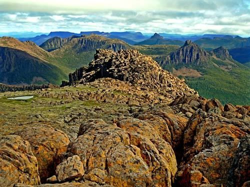 The top of Mt. Ossa offers spectacular views of the Cradle Mountain-Lake St. Clair region of Tasmania.