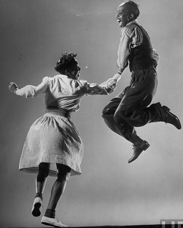 Leon James & Willa Mae Ricker demonstrating a step of The Lindy Hop, 1943.