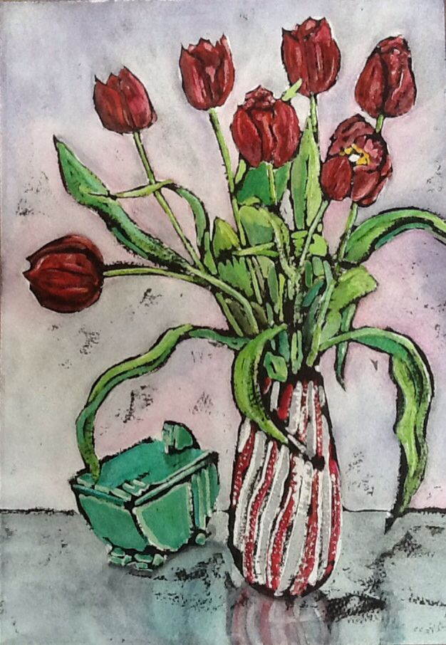 Magenta Tulips - water colour and Indian ink www.dorset-artist.co.uk
