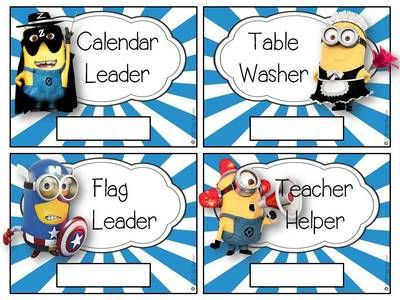 Download a printable Classroom Management Set. minion classroom management