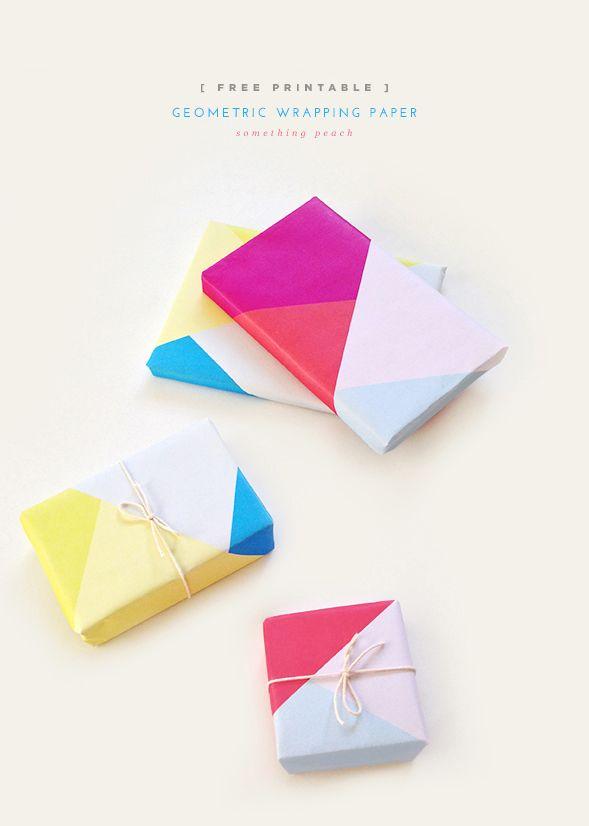 Geometric gift wrap printable