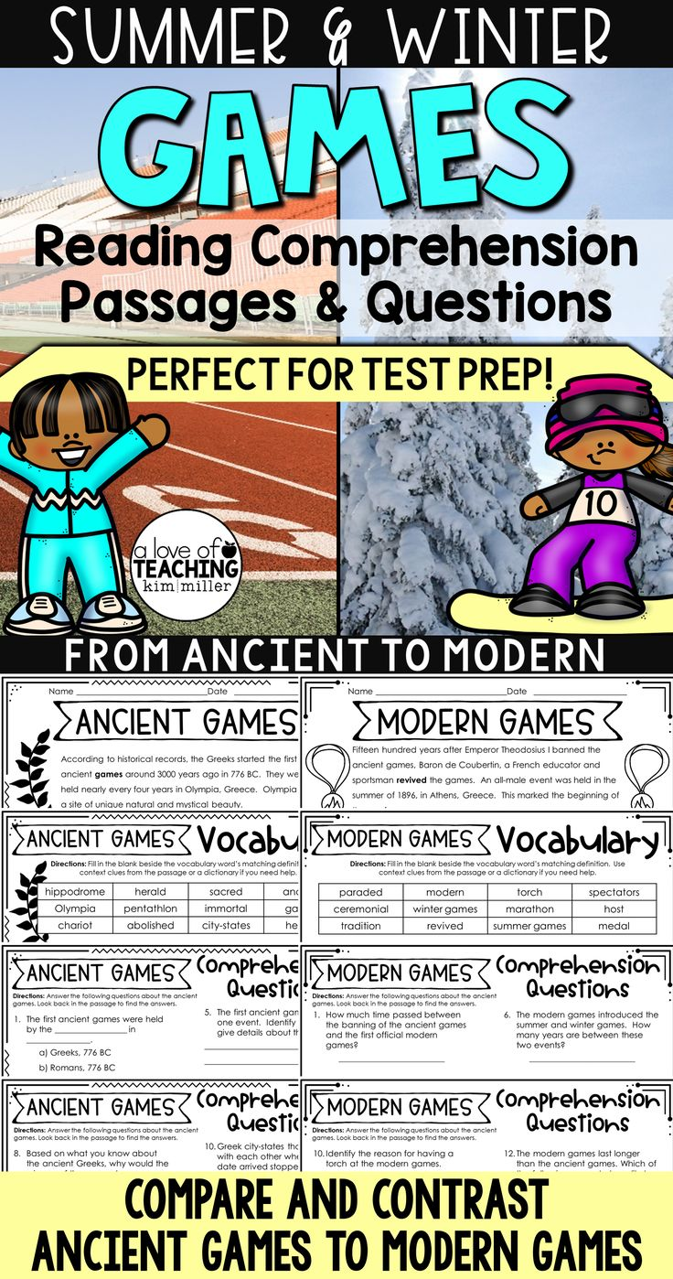 Winter Games - Summer Games: Reading Comprehension Passages and Questions for test prep! Compare and contrast ancient games to modern games with these reading practice worksheets for students.