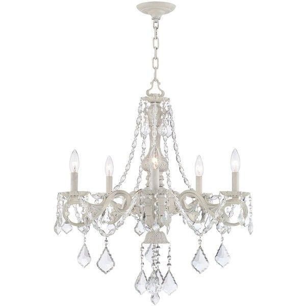 "Kathy Ireland Chateau de Conde 26"" Wide 5-Light Chandelier ($300) ❤ liked on Polyvore featuring home, lighting, ceiling lights, 5 arm lamp, strand lighting, 5 bulb chandelier, kathy ireland lamps and t5 light"