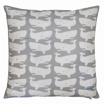 Whale pillow made in Maine.