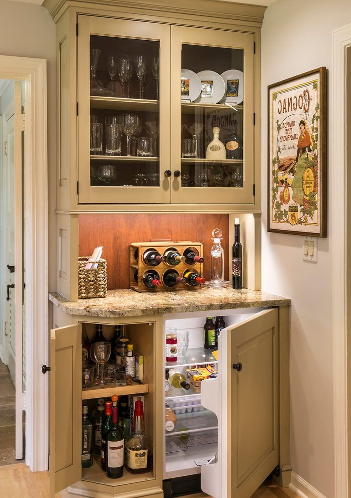 Coffee Bar And Mini Fridge In Master Bat Home Bar Farmhouse With Small Island Close Kitchen Wall Cabinets Small Bars For Home Small Kitchen Bar Kitchen Bar Design