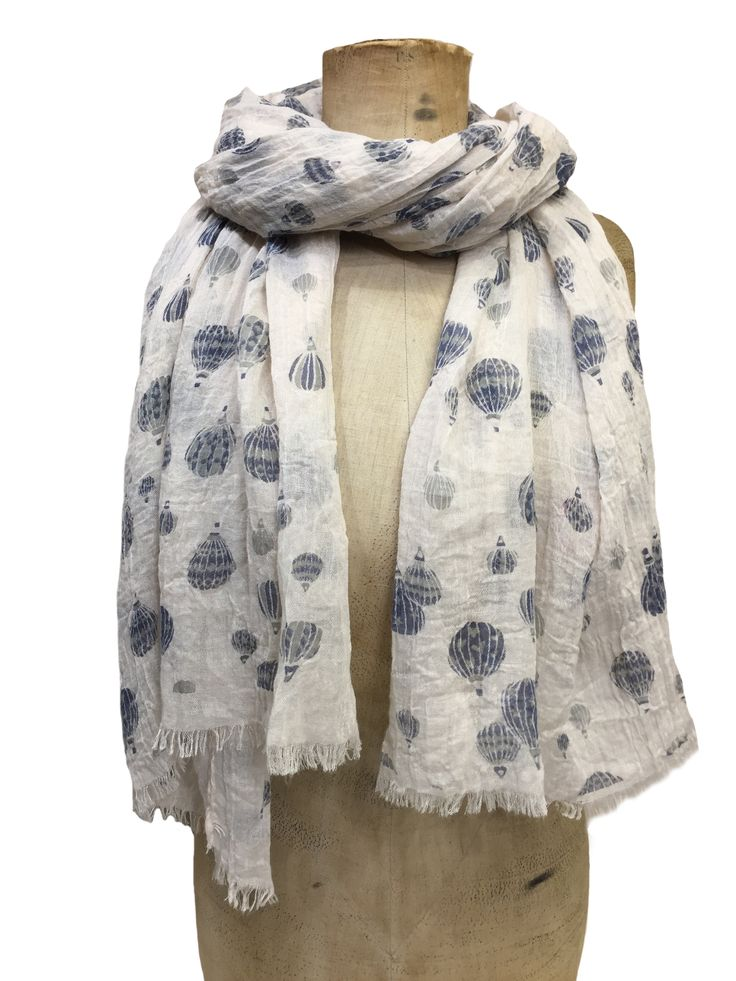 Hem&Edge scarf - hot air balloons #cream #denim 65% viscose 35% cotton 80x180cm #glamorousgreys #scarf #accessories #onebutton #hemandedge Click to see more products from the One Button shop.