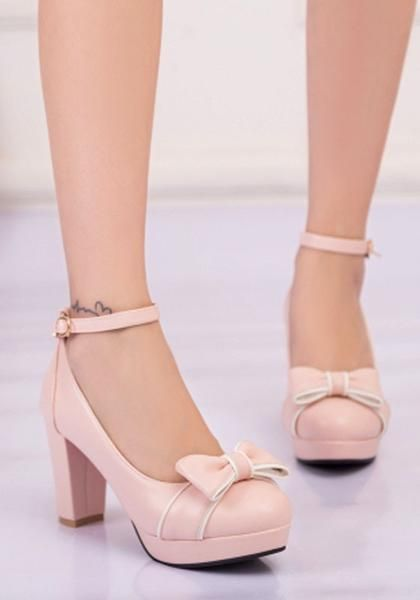 8446e5c48f2 Pink Round Toe Chunky Bow Sweet Buckle High-Heeled Shoes in 2019 ...