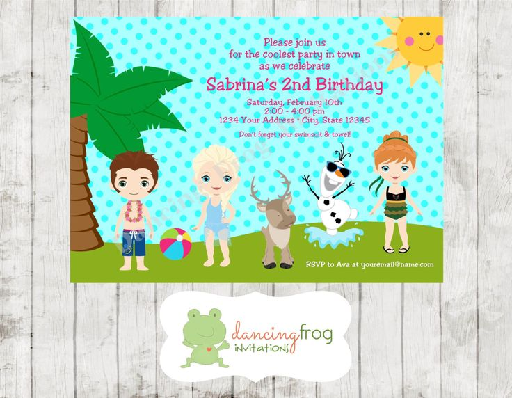 Snow Princess Swimming Birthday Party Invitations - Printed Snow Princess invitations by Dancing Frog Invitations by DancingFrogInvites on Etsy https://www.etsy.com/listing/232498432/snow-princess-swimming-birthday-party