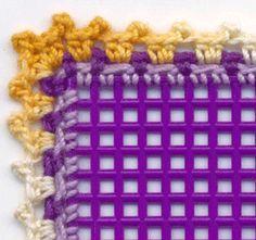 Crochet around the edge of plastic canvas!