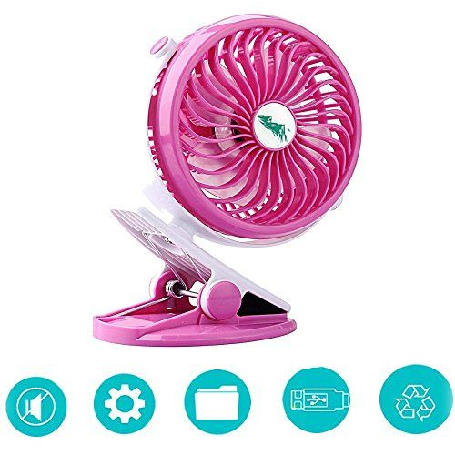 Aipai Table Fan Battery Operated Clip Fan,Small Portable Fan Powered by Rechargeable Battery or USB Desk Fan Persanal Fan for Baby Stroller Car Gym Workout Camping,SkyGenius (Pink) - $15.99