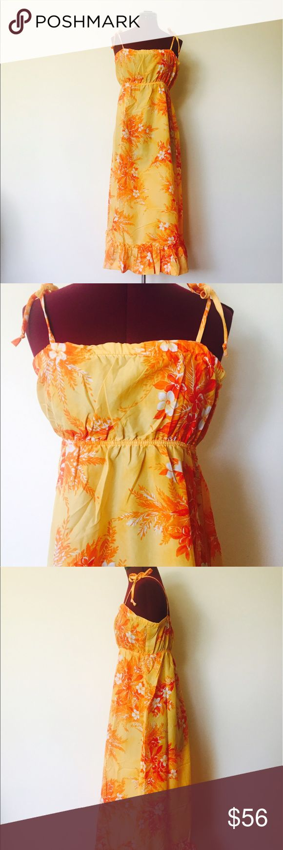 """Vintage 60s Hawaiian Maxi Dress S M Vintage Hawaiian maxi dress with tie up spaghetti straps and an elastic empire waist. By Pompare    Material: Nylon  Color: Shades of orange  Maker: Pompare  Origin: Hawaii  Era: 60's  Size: S, M    Measurements:  Bust- 34""""  Waist- 24"""" to 30""""  Hips- 46"""" Length- 49""""    Condition: very good, showing minimal signs of use. Vintage Dresses Maxi"""