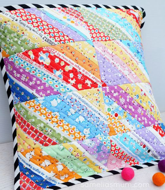 Samelia's Mum: Scrappy Strip Pillow {Tutorial}