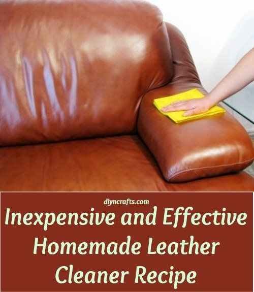 Inexpensive and Effective Homemade Leather Cleaner Recipe:   ¼ cup of olive oil ½ cup of regular vinegar A spray bottle Just mix the two ingredients together in your spray bottle and shake it well. Now you just have to spray the leather down and wipe it clean with a cotton cloth. Note that you can add a few drops of eucalyptus oil or your favorite essential oil if you want to give it a better smell than vinegar although the vinegar smell really doesn't last long.