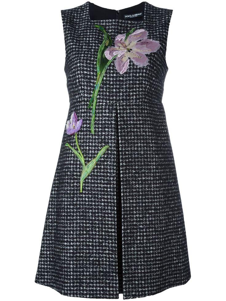 Dolce & Gabbana Твидовое Платье С Цветочной Аппликацией - Donne Concept Store - Farfetch.com