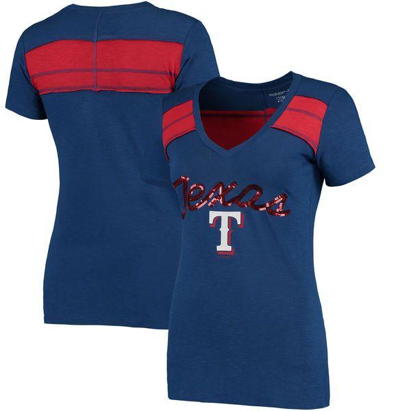 Texas Rangers 5th & Ocean by New Era Women's MLB Slub V-Neck With Contrast Inserts T-Shirt - Heathered Royal - $34.99