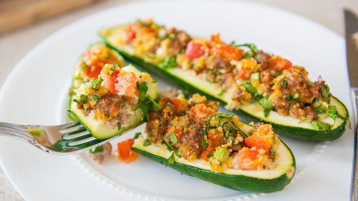ITALIAN SAUSAGE STUFFED ZUCCHINI BOATS RECIPE - Veggie Side Dishes