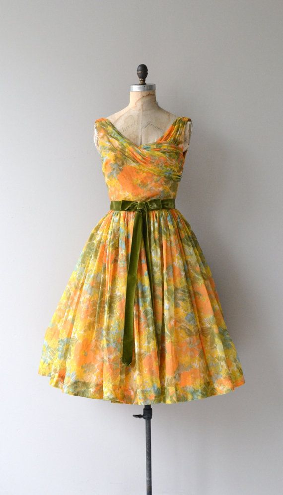 October Sunset dress vintage 1950s dress floral by DearGolden