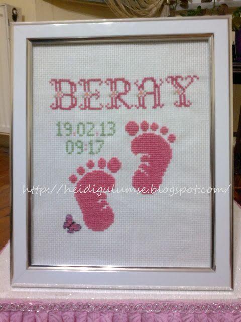Bebek doğum hediyesi kanaviçe tablo