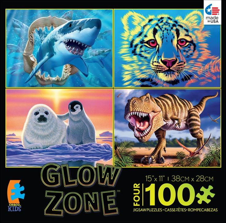 4-in-1 Puzzle Pack Glow Zone Dinosaurs Children's Puzzles
