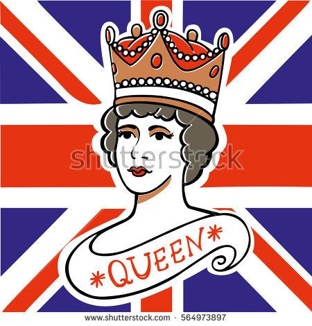 The portrait of Queen of the UK, Canada, Australia, and New Zealand on flag background vector illustration. Illustration can be used for the design of souvenirs, notebooks, posters, postcards, etc.