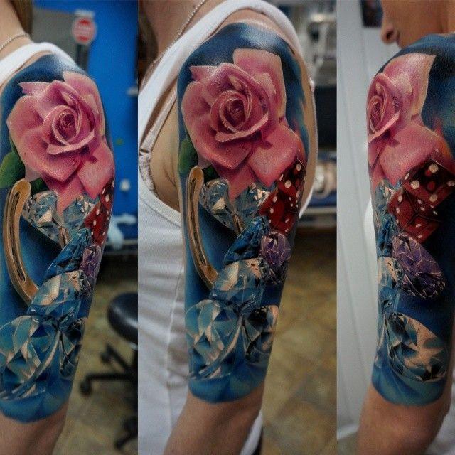 Unique rose diamond tattoo by dareckitattoo webstagram for Unique rose tattoos