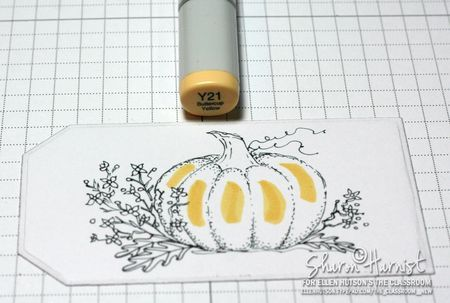 Coloring a pumpkin with Sharon Harnist