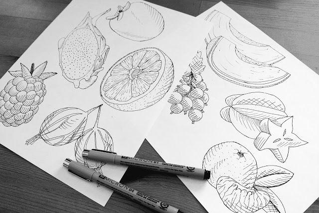 blackberry drawing, persimmon illustration, gooseberry drawing, starfruit drawing, micron, progress, blackcurrant drawing, mandarin drawing, melon drawing