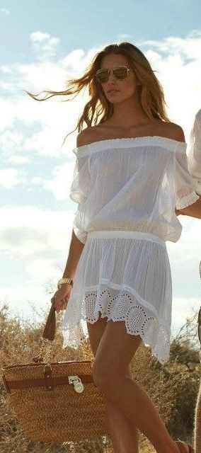 Modern boho chic hippie off the shoulder dress for a gypsy flair. For the BEST Bohemian fashion style FOLLOW http://www.pinterest.com/happygolicky/the-best-boho-chic-fashion-bohemian-jewelry-gypsy-/ now.