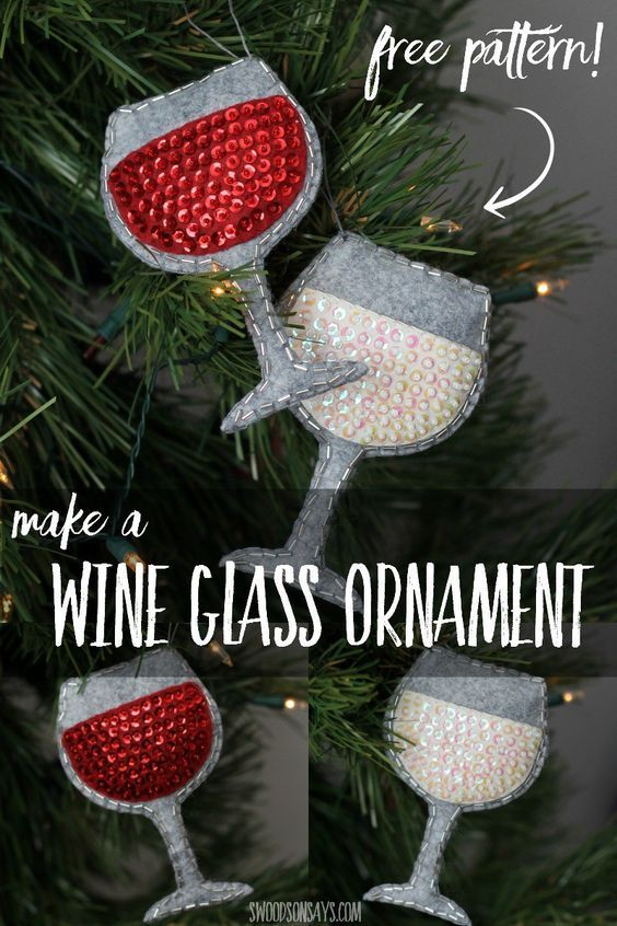 "Drink Wine: ""It isn't good to keep things bottled up!""  FREE PATTERN for felt Christmas ornament.  Crafted by:  Swoodsonsays.com via @WhyILoveXMAS"