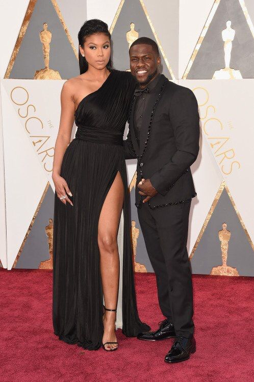 Kevin Hart and wife at the Oscars 2016 red carpet